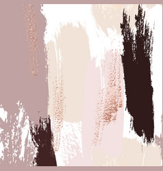 Watercolor brush strokes with rose gold grunge vector