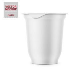 white yogurt pot with foil cover mockup vector image