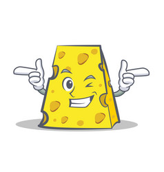 Wink cheese character cartoon style vector
