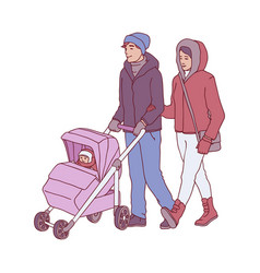 young parents with baby in vector image
