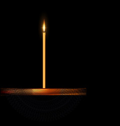 burning candle with wooden stand and veil vector image vector image