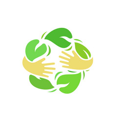 ecology logo of human hands vector image vector image