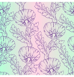Garden flowers Seamless hand-painted soft gradient vector image vector image