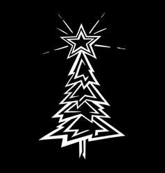 hand-drawn christmas tree stylized vector image vector image