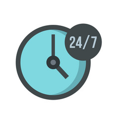 open or served around the clock icon flat style vector image