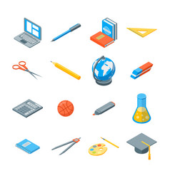 school equipments and tools icons set isometric vector image vector image