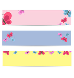 set of posters with cartoon colorful butterflies vector image