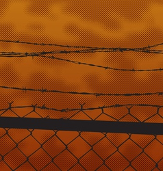 silhouette fence at sunset vector image