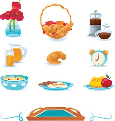 Blue breakfast icons set vector image