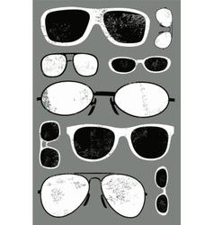 grunge set of retro glasses vector image vector image