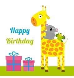 Happy Birthday card with cute giraffe koala and vector image vector image