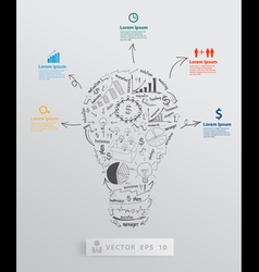Light bulb with element drawing business success vector image