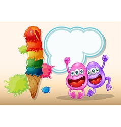 Two happy monsters jumping near the giant icecream vector image vector image