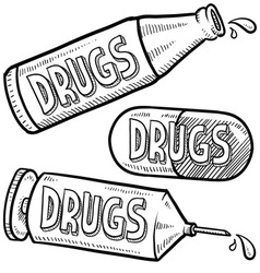 Addiction to drugs vector image