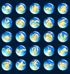 blue and gold vacation icons vector image vector image