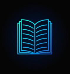blue open book icon vector image