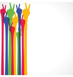 colorful hand show victory sign vector image vector image