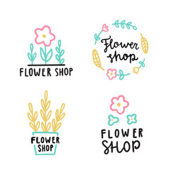 flower shop logotype set vector image vector image