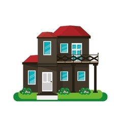 house with balcony red roof garden design vector image