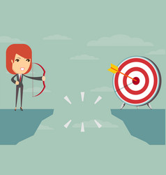 Successful businesswoman aiming target vector