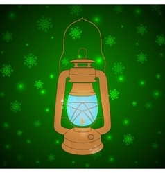 vintage kerosene lamp on a green background vector image