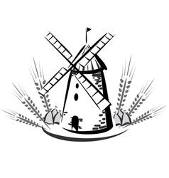 wind mill emblem vector image vector image