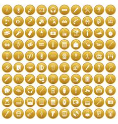 100 portable icons set gold vector