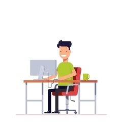 A young employee working at the computer vector image vector image