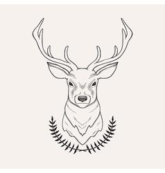 hand drawn of deer and laurel vector image