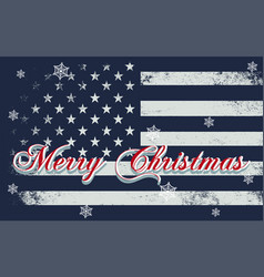 merry christmas lettering on a usa flag vector image