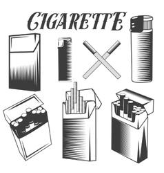 set cigarette lighter and pack of vector image