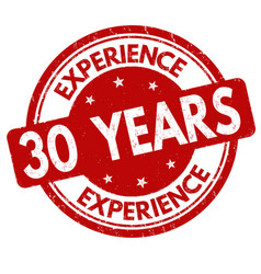 30 years experience sign or stamp vector