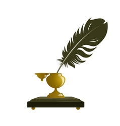Ancient inkwell and feather vector image
