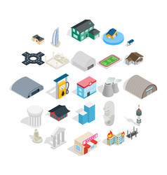 assembly icons set isometric style vector image
