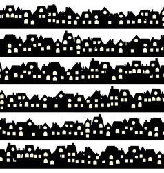 Background with black doodle houses vector image