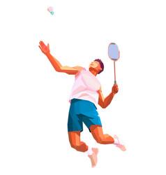 Badminton player polygonal geometric athelete vector