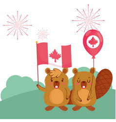 Beavers with canadian flag and balloon vector