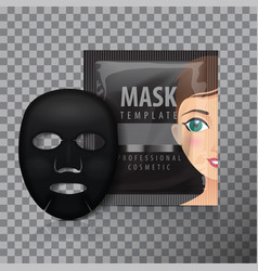 black facial sheet mask with sachet mock vector image