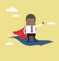 businessman standing on the flying magic carpet vector image
