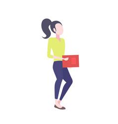 businesswoman holding paper document folder vector image