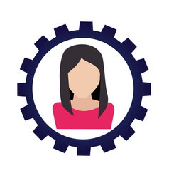 businesswoman with bulb character avatar icon vector image