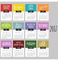 Calendar 2017 Week starts from Sunday vector