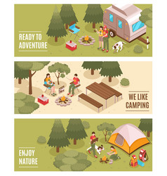 Camping hiking isometric banners vector