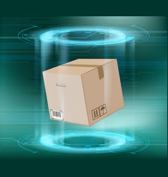 cardboard box package on a futuristic background vector image