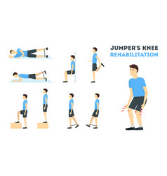 cartoon jumper knee rehabilitation exercise card vector image