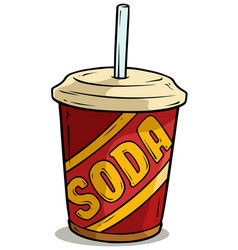 cartoon plastic cup of soda drink with straw vector image