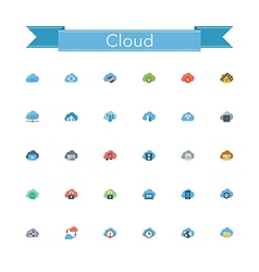 Cloud flat icons vector
