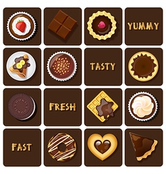 Collection of dessert and baked goods vector