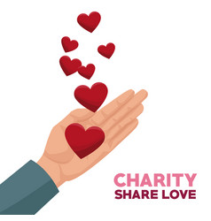 Colorful hand with floating hearts charity share vector