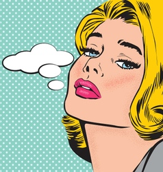 Comic pop art style woman character vector